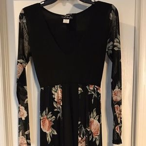 Long Sleeve Black/Floral Dress